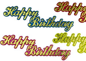 Large Happy Birthday Script Plaques - Asst.