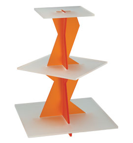 3 Tier Zigzag Acrylic Display- Orange