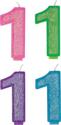 Glitter Number Candles - #1