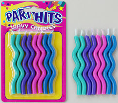 Wavy Birthday Candles-Cool Pastels