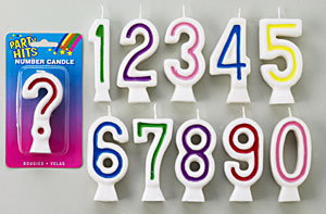 Number Candles-Assorted Colors-# 1 - Master Case