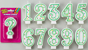 Green/White Number Candle - #3