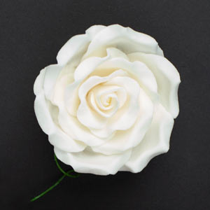 Fancy Gum Paste Rose-Large-White (w/ Wire)