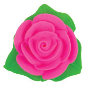 Rose Icing W/3 Leaves - Pink