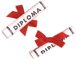 Paper Diploma w/ Bow-Lge 4-1/4