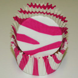 Zebra Stripe Cups - Hot Pink - Cupcake