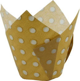 Tulip Cup - Polka Dot - Gold W/ Silver