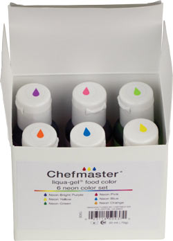 6 Color Neon Liqua-Gel Kit - Chefmaster 0.7 oz.