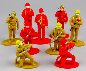 Red & Yellow/Gold Firemen Figures