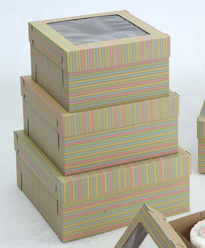 Striped Cake Boxes - 12
